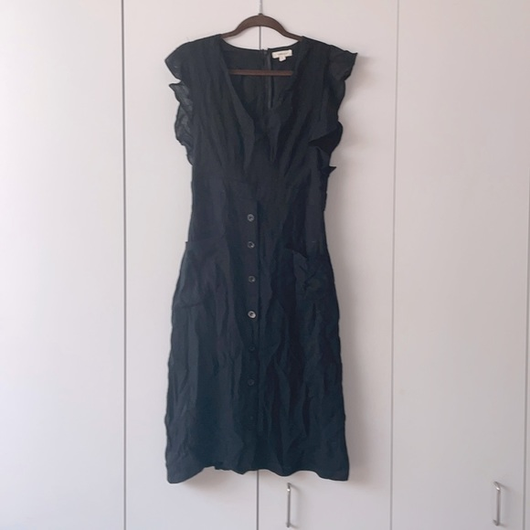 Black Linen Cap Sleeve Dress with Front Buttons